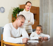 Sad family having financial problems Royalty Free Stock Photography