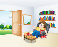 A sad fat boy sitting in the sofa in front of the bookshelves. Illustration of a sad fat boy sitting in the sofa in front of the bookshelves stock illustration