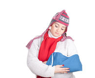 Sad fat girl with broken hand Royalty Free Stock Images
