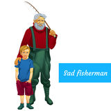 Sad father and son fishing together, two character Royalty Free Stock Photography