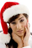 Sad female accountant in christmas hat Royalty Free Stock Photos