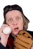 Sad female baseball fan royalty free stock images