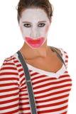 Sad female clown suspenders Stock Images