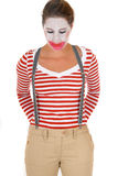 Sad female clown suspenders Stock Image