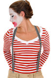 Sad female clown suspenders Royalty Free Stock Photos