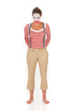 Sad female clown suspenders Royalty Free Stock Image