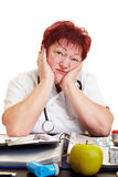 Sad female doctor Stock Photos
