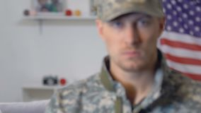 Sad female looking military boyfriend, armed forces duty, dangerous profession. Stock footage stock footage