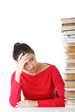Sad female student with learning difficulties Stock Image