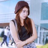 Sad female student at school Stock Photography