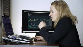 Sad female trader watching currency exchange chart and upset. failures in trade transactions on a stock exchange.  stock footage