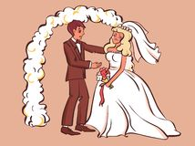 Sad fiancee cry, bridegroom tries to comfort her. Cartoon style vector illustration
