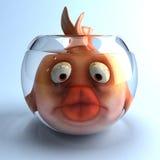 Sad fish. Fun 3D goldfish, 3d generated picture Royalty Free Stock Image