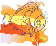 Sad fish. Vector image sad marine fish floating near the surface of the sea gladim Stock Photo