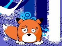 Sad Fox baby ball expression cartoon background Stock Photography