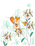 Sad Fox Bird. Illustration sad fox, bird open mouth. --- This .eps file info Version: Illustrator 8 EPS Document: 9 * 12 Inches (Width * Height) Document Color stock illustration