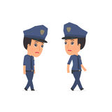Sad and Frustrated Character Constabulary goes and drags Stock Photo
