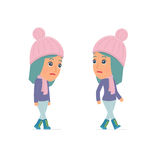 Sad and Frustrated Character Winter Girl goes and drags Royalty Free Stock Photography