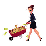 Sad, frustrated woman, girl, businesswoman pushing wheelbarrow with money bags. Cartoon vector illustration isolated on white background. Businesswoman, woman royalty free illustration