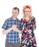 Sad Funny retro family couple with relationship problem Stock Images