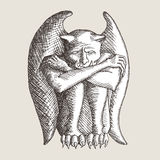Sad gargoyle sketch Royalty Free Stock Images