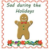 Sad gingerbread man. On white background with holly stock illustration