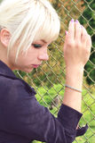 Sad girl. Portrait of tha sad blonde woman Stock Photo