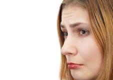 Sad girl. Side view portrait of a sad girl Stock Photos