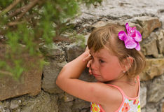 Sad girl. Portrait of a little girl crying Royalty Free Stock Image