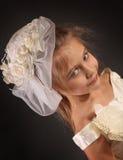 Sad girl. Cute little girl on dark background Stock Images