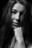 Sad girl. Sad woman expression looking at you on black and white Royalty Free Stock Photos