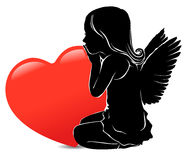Sad girl angel and big red heart. Silhouette girl angel and big red heart Royalty Free Stock Photos