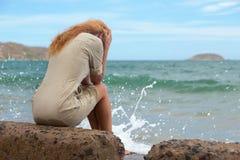 The sad girl. stock photography