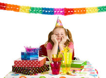 Sad girl on birthday party Royalty Free Stock Photos