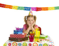 Sad girl on birthday party Stock Photography