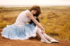 The sad girl at breakage Royalty Free Stock Image