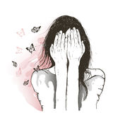 Sad girl and butterflies Stock Photography