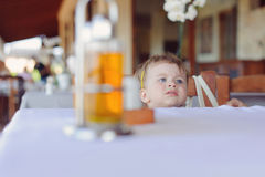 Sad Girl in Cafe Royalty Free Stock Photography