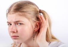 Sad girl can't hear Royalty Free Stock Photo