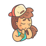 Sad Girl In Cap, Choker And Blue Top Hand Drawn Emoji Cool Outlined Portrait. Part Of Funky Flat Vector Sticker Series With Teenager Different Emotional Facial Stock Image