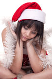 Sad girl in christmas hat Royalty Free Stock Photography