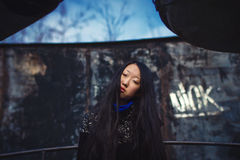 Sad girl in coat Royalty Free Stock Photos