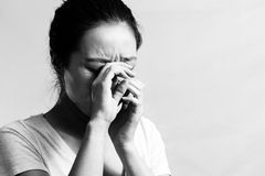 Sad girl crying. Portrait of pretty girl crying desperately, black and white style Royalty Free Stock Photography