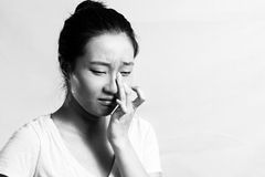 Sad girl crying. Portrait of pretty girl crying desperately, black and white style Royalty Free Stock Photo
