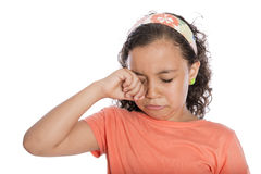 Sad Girl Crying. Sad Young Girl Crying Isolated on White Background Stock Photos