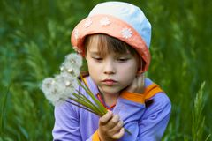 Sad girl with dandelions Stock Photography