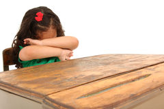 Sad Girl in Desk Royalty Free Stock Photography