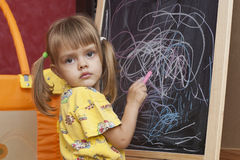 Sad girl draws by a chalk on the easel Doodle