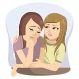 Sad Girl Friends Talking. Young sad girl friends having problems and talking together comforting stock illustration