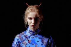 Sad girl geisha Royalty Free Stock Photography
